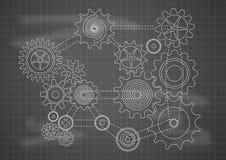Gears Blueprint Chalkboard Vector Illustration. Gears connection on blueprint chalkboard blackboard  illustration Stock Images