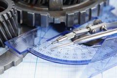 Gears On Blueprint Stock Photography