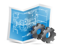 Gears blueprint graphic Royalty Free Stock Photos