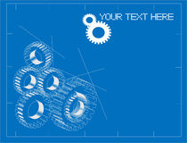 Gears blueprint illustration Royalty Free Stock Image