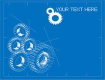 Gears blueprint illustration Royalty Free Stock Image