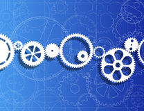 Gears And Blueprint Royalty Free Stock Photography