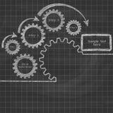 Gears blueprint.Written in chalk on a blackboard Stock Image