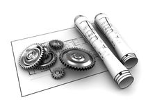 Gears blueprints Royalty Free Stock Photo
