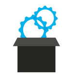 Gears in box  isolated icon design Stock Photography