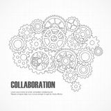 Gears brain for cooperation or teamwork Royalty Free Stock Photography