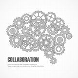 Gears brain for cooperation or teamwork Stock Photo