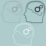 Gears in the brain of head icon. Royalty Free Stock Images