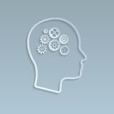Gears on brain, vector illustration Royalty Free Stock Photo