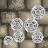 Gears on a brick background Stock Image