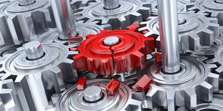 Gears and broken red gear Royalty Free Stock Image
