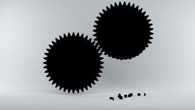 Gears with broken teeth symbolize Error in the System Royalty Free Stock Photos