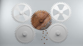 Gears with broken teeth symbolize Error in the System Stock Photos