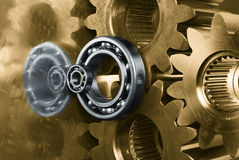 Gears in brown and silver Stock Photo