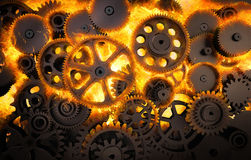 Gears burning Royalty Free Stock Photos