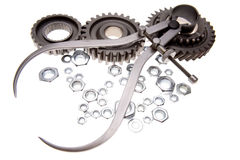 Gears, Calipers And Nuts Stock Image
