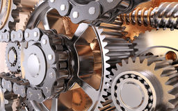 Gears with chain. 3D rendering Royalty Free Stock Photography