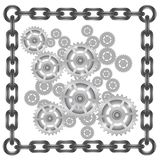 Gears in chain frame Royalty Free Stock Images