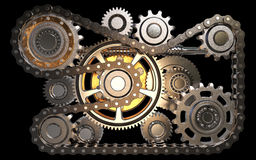Gears with chain. Isolated on black background 3D rendering stock illustration