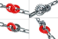 Gears chain links set on a white background Stock Images