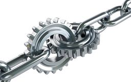Gears chain links. On a white background Stock Image