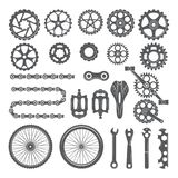Gears, chains, wheels and other different parts of bicycle royalty free illustration