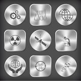Gears, chemical test tubes, shift globe, radiation symbol, space Royalty Free Stock Photo