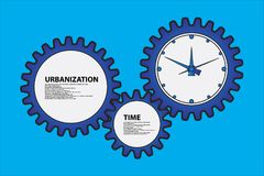 The gears and clock  illustration. Vector illustration of gears and clocks Stock Image