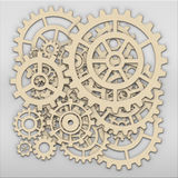 Gears from clock works over grey metalic plate stock photography