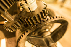 Gears Closeup. Mechanism gears detail closeup with blurred backround Stock Images