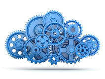 Gears. Cloud computing. Cloud computing from gears on white isolated background. 3d Stock Photography