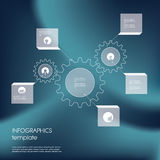 Gears or cog wheel infographics template. Line Royalty Free Stock Image