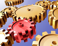 Gears and cogs. Illustration of highly polished interlocking cogs and gears Stock Photo
