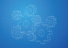 Gears and Cogs background - vector. Blueprint of 3D gears and cogs background. Can be used in solution, teamwork, technology royalty free illustration
