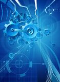 Gears and Cogs Blue Business Background. Gears and cogs blue business conceptual abstract background Stock Photos