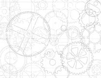 Gears And Cogs Blueprint Stock Image