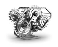 Gears and cogs - mechamism in metal frame Royalty Free Stock Photography