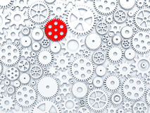 Gears and cogs with one different colored in red. 3d illustration Stock Illustration