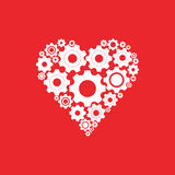 Gears and cogs in shape of heart system theme icon. Isolated on white background. Vector illustration. Eps 10 Stock Photo