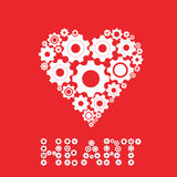 Gears and cogs in shape of heart system theme icon. Isolated on white background. Vector illustration. Eps 10 Stock Image