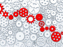 Gears and cogs. Some of gears colored in red. 3d illustration Royalty Free Illustration