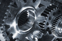 Gears, Cogs, Titanium And Oil, Lubricants Royalty Free Stock Photography