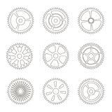 Gears, cogs wheels or sprocket   line  icon set. Vector illustration Royalty Free Stock Photo