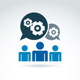 Gears and cogs working team system theme icon, dialogue Stock Photos