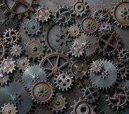 Technology background with cogwheels and metal gears. Gears and cogwheels background 3d illustration Stock Image