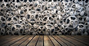 Gears and cogwheels. Background of 3d metal gears and cogwheels and wooden floor Stock Images