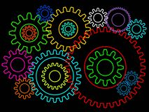Gears or cogwheels 2d background isolated. Teamworking or connection concept. Gears or cogwheels 2d background isolated on black. Teamworking or connection royalty free illustration