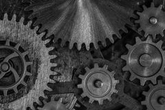 Gears and cogwheels 3d illustration. Rustic dark gears and cogwheels background Royalty Free Stock Image