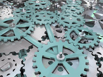 Gears and cogwheels mechanical engineering background. Mechanism 3D illustration Stock Images