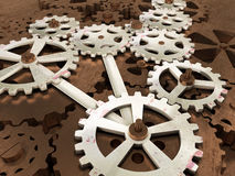 Gears and cogwheels mechanical engineering background. Old pinion, 3d illustration. Stock Image